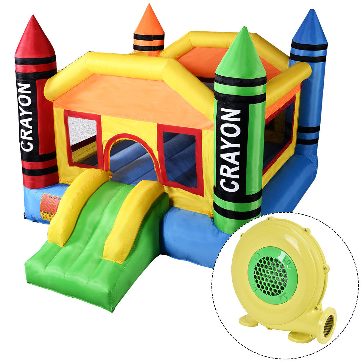 Gymax Inflatable Crayon Bounce House Castle Jumper Moonwalk Bouncer with 480W Blower