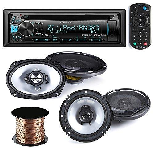 kenwood kdc-bt362u car stereo radio cd mp3 receiver with bluetooth am/fm radio player + (pair) 6x9 speakers + (pair) 6.5 inch speakers,50 ft 18g speaker wire