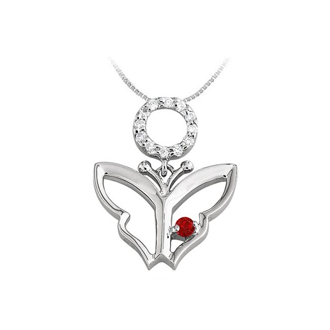 Fine Jewelry Vault UBUPDS85124AGCZR Butterfly Pendant Necklace with Cubic Zirconia and Created Ruby in Sterling Silver... by Fine Jewelry Vault