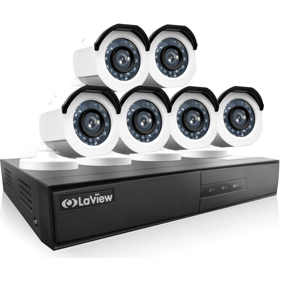 LaView 6-Camera 8-Channel High-Definition DVR Security System with 720p HD Bullet Surveillance Camera, 1TB Hard Drive and Remote View