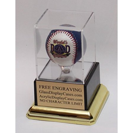 Baseball Personalized Acrylic Display Case with Black and Gold Platform Base - Free No Limit (Gold Medal Winning Baseball)
