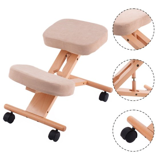 Costway Ergonomic Kneeling Chair Wooden Adjustable Mobile