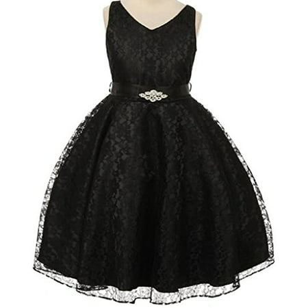 Big Girls' Lace Floral Pattern Satin Sash Flowers Girls Dresses Black 10