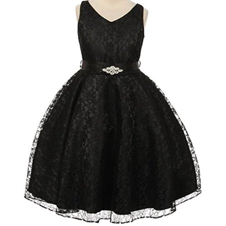 Big Girls' Lace Floral Pattern Satin Sash Flowers Girls Dresses Black 10 - Black Girl Dresses