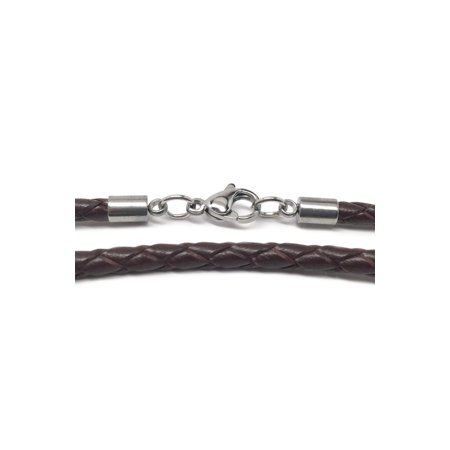 Brown Braided Leather Necklace Cord (3mm) with Stainless Steel Lobster Clasp (18 Inch)