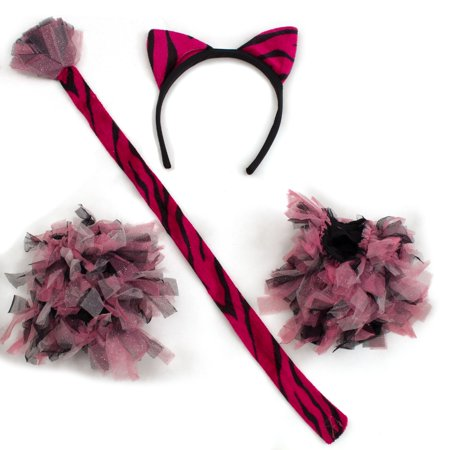 Halloween Striped Tiger 4pc Costume Accessory Set, Pink Black, One-Size (Pink And Black Halloween Costumes)