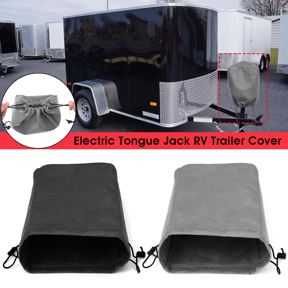 Universal Electric Tongue Jack Cover Protector For RV Travel Trailer Camper