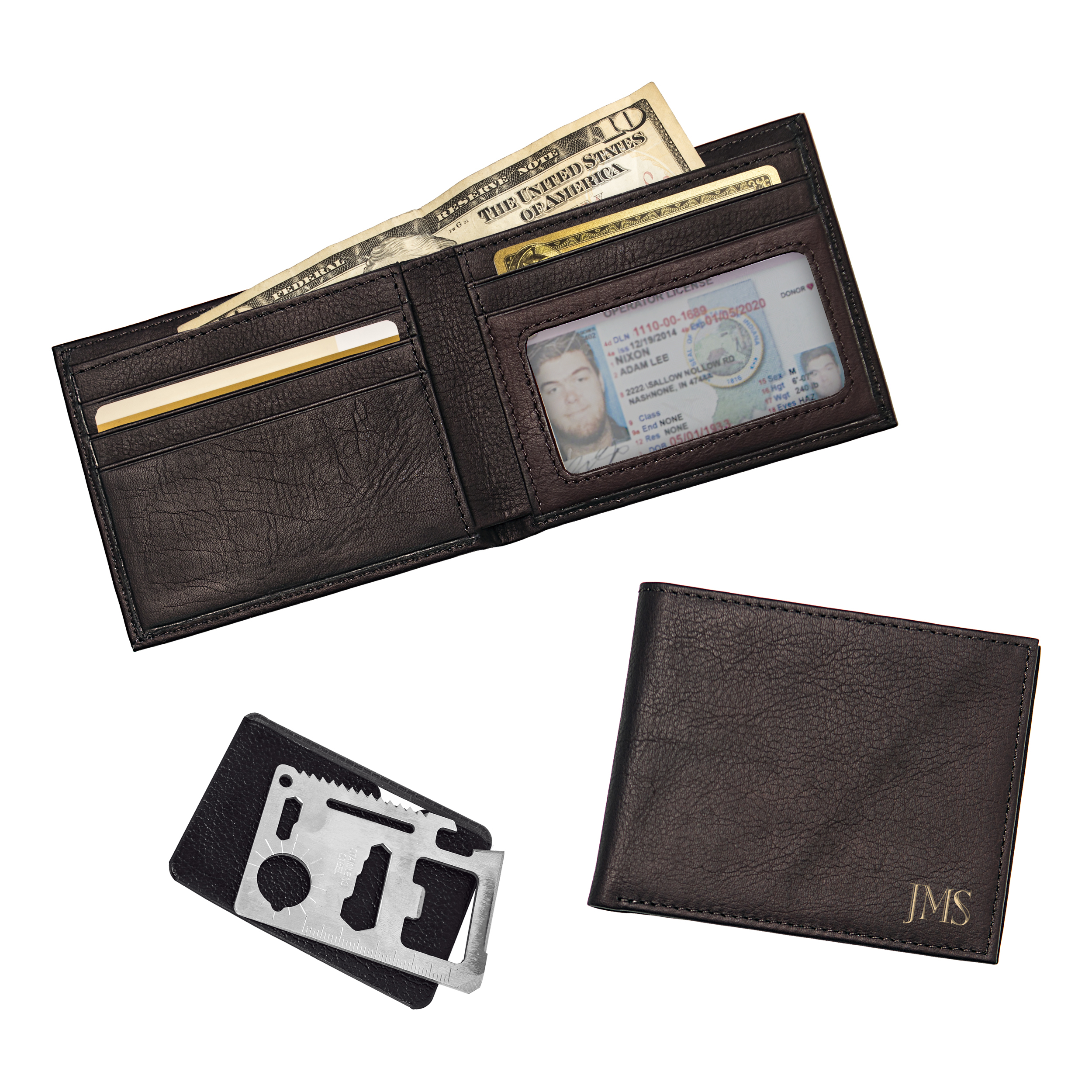 Personalized Brown Bi-fold Wallet With Multi-function Tool Brown
