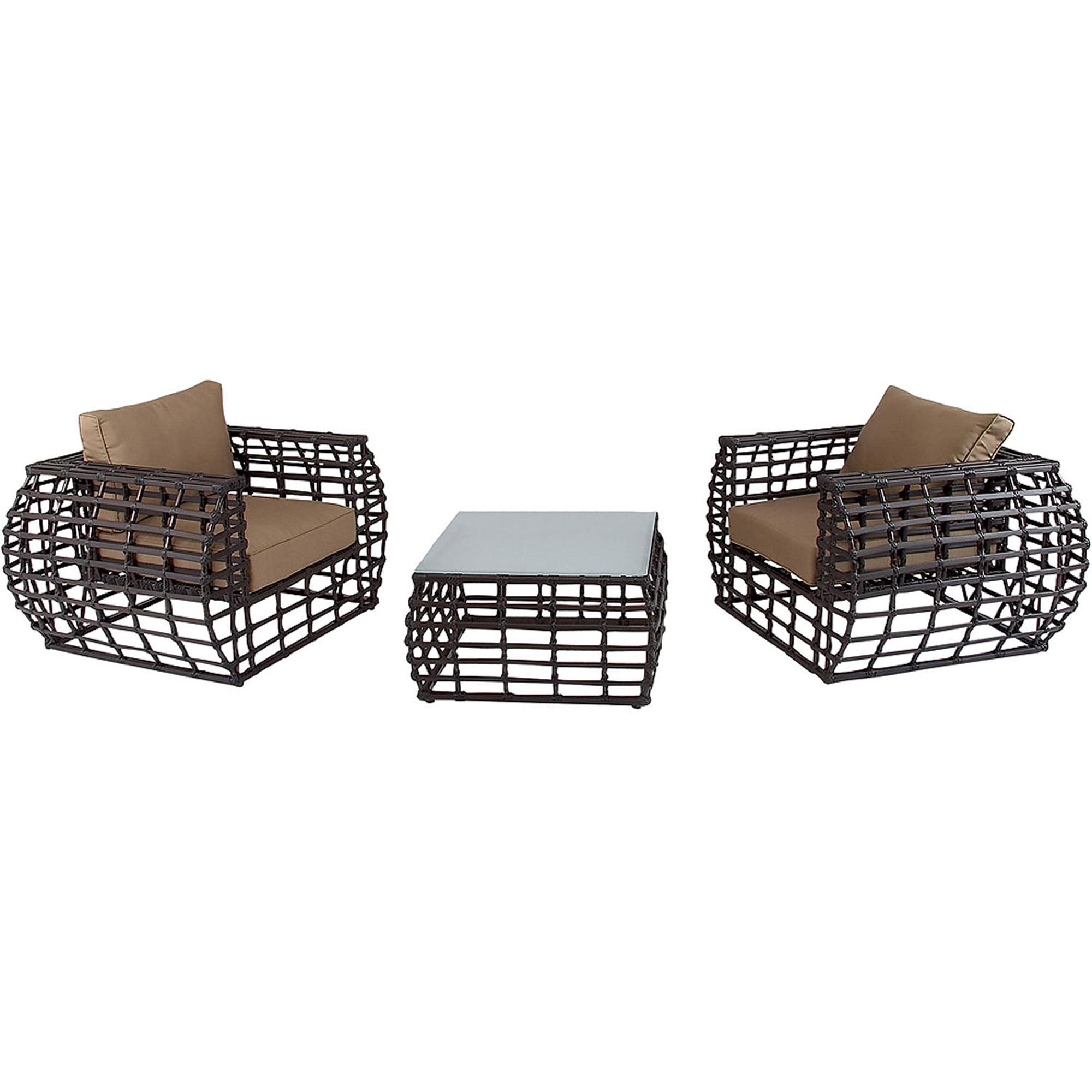 Hanover Outdoor Furniture Soho 3 Piece Modern Lounge Set Walmart