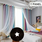 Star Curtains Stars Blackout Curtains for Kids Girls Bedroom Living Room Colorful Double Layer Star Window Curtains, 1 Panel (53