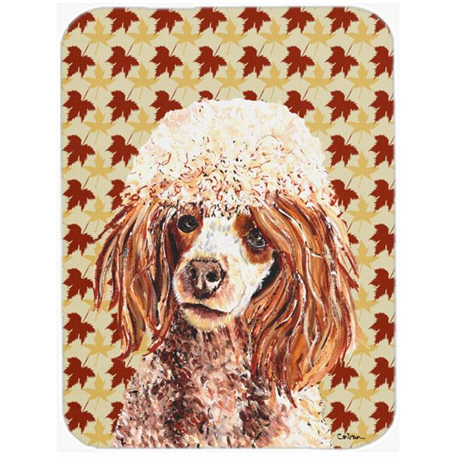 Carolines Treasures SC9675LCB Red Miniature Poodle Fall Leaves Glass Cutting Board - Large - image 1 de 1