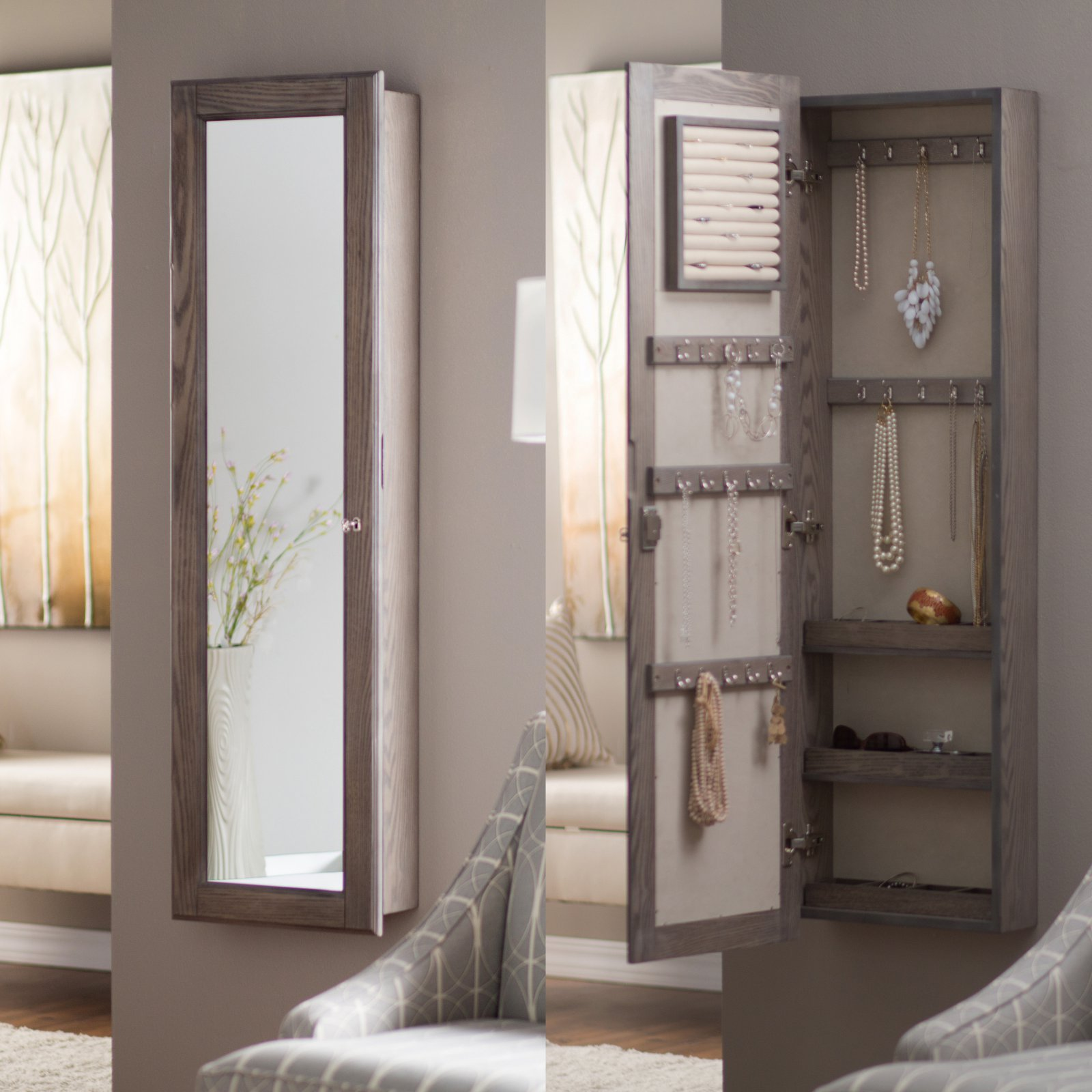 Mirrored wall mounted jewelry armoire
