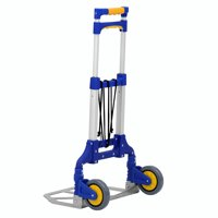 Folding Hand Truck, 176 lbs Heavy Duty 2-Wheel Adjustable Utility Cart Compact and Lightweight for Personal, Travel, Auto, Moving and Office Use - Portable Fold Up Dolly