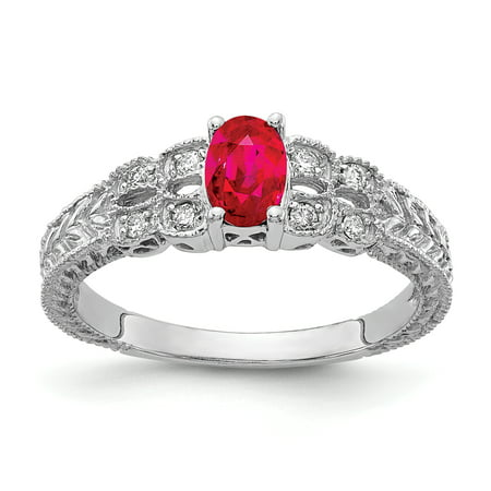14K White Gold 6x4mm Oval Ruby AA Diamond Ring Size 7