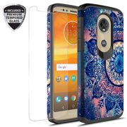 Moto G6 Play Case, Moto G6 Forge Case With Tempered Glass Screen Protector, KAESARSlim Hybrid Dual Layer Graphic Fashion Colorful Cover Armor Case for Moto G6 Play (Mandala)