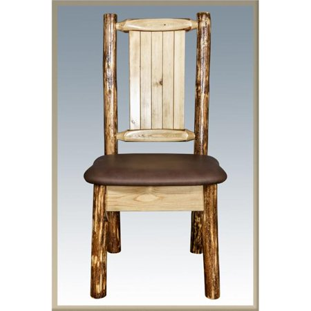 Glacier Country Side Chair - Saddle Upholstery with Laser Engraved Wolf Design ()