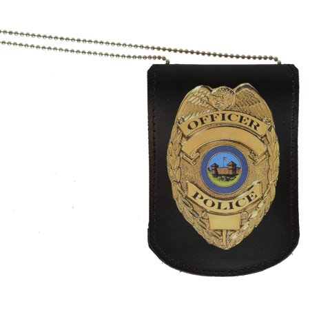 Leather ID & Badge Holder with Chain 2561 (C) (Marshal Badge)