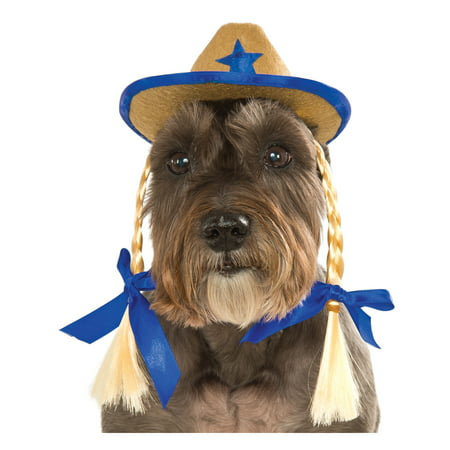 Pet Dog Cat Western Cowgirl Sheriff Blue Costume Hat With Braids-S-M - Cowgirl With Hat