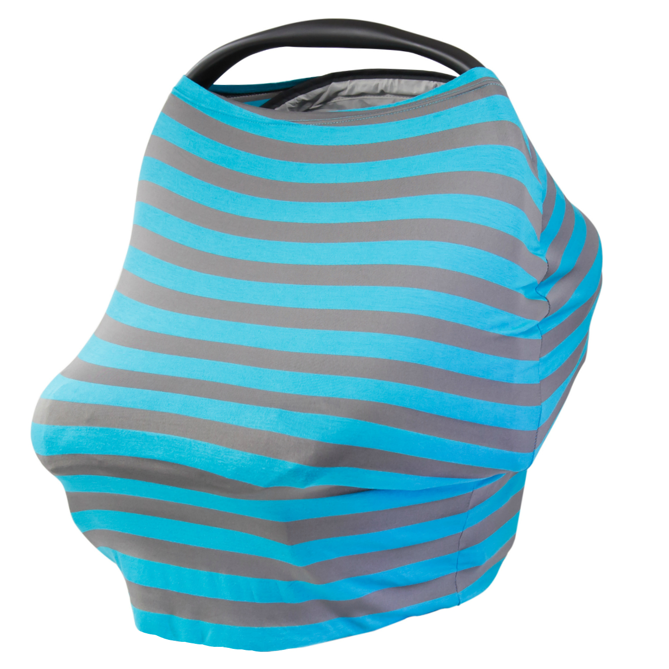 JLIKA Baby Car Seat Canopy Cover and Stretchy Nursing Cover Turquoise Gray Stripe