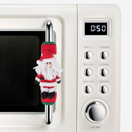 LYUMO Christmas Decoration,1 Pair Christmas Theme Appliance Microwave Oven Refrigerator Door Handle Cover Protector Decor, Refrigerator Handle Cover