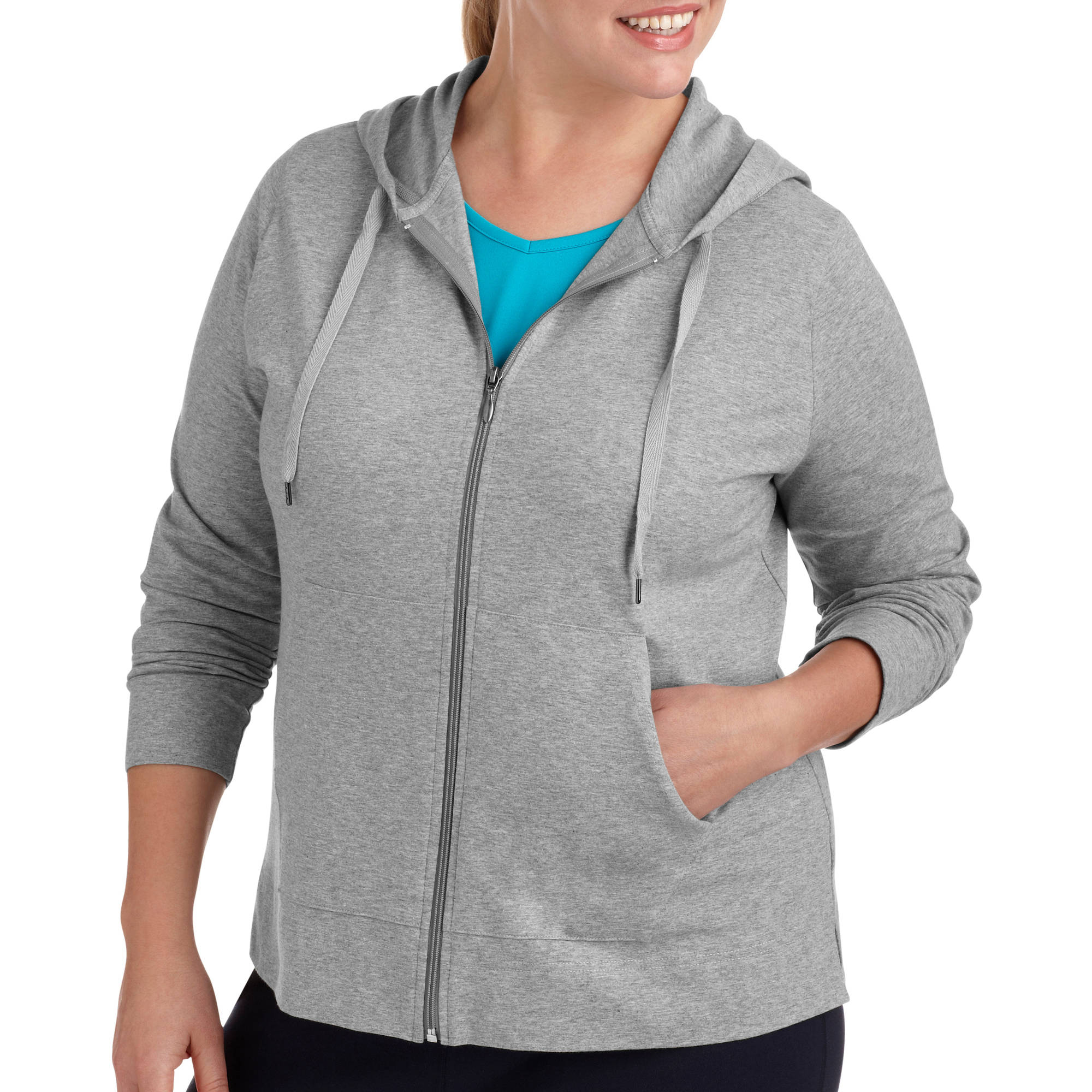 Danskin Now Womens Plus-Size Dri-More Zip Up Hoodie