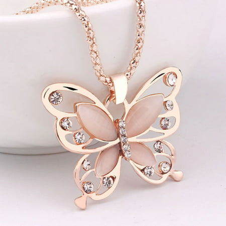 Fashion Women Rose Gold Opal Butterfly Charm Pendant Long Chain Necklace Jewelry (Gold Rose Pendant Necklace)
