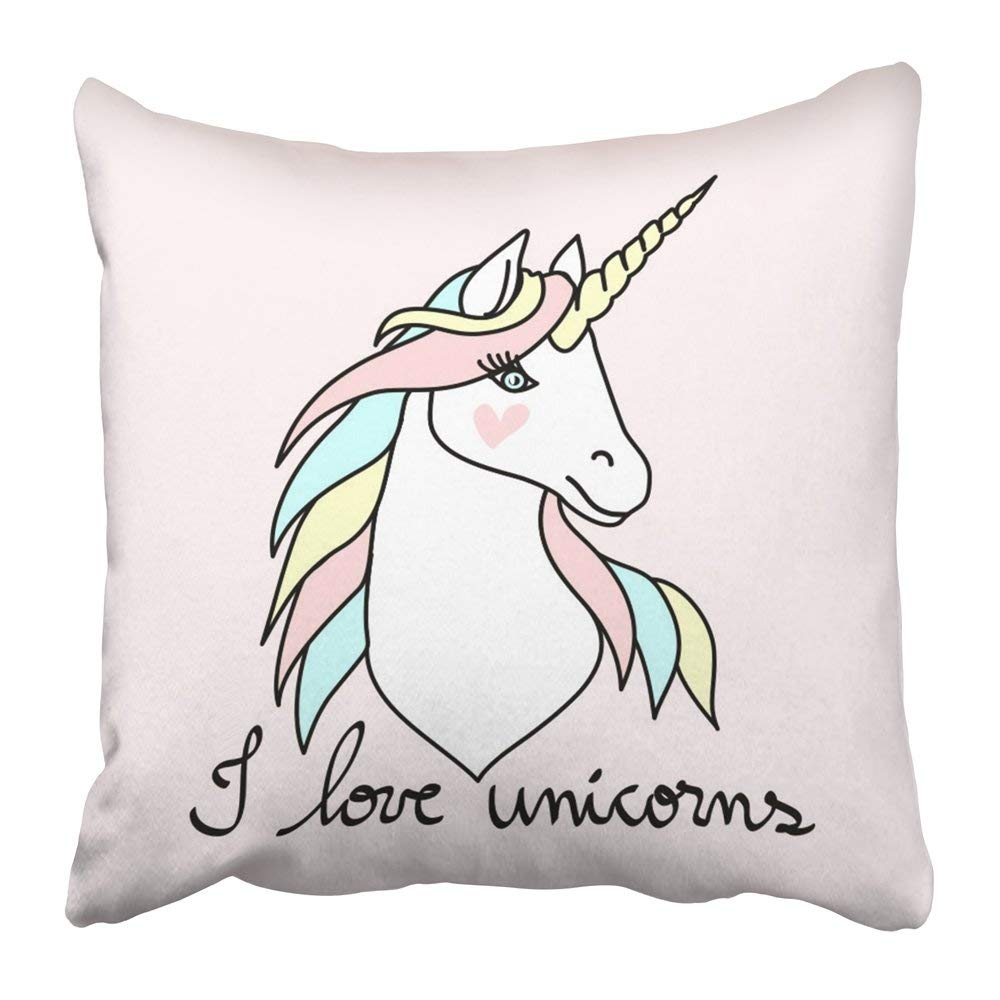 ARTJIA White Head Magic Unicorn Blue Symbol Horse Wild Animal Candy Cartoon Child Pillowcase Pillow Cover 20x20 inches