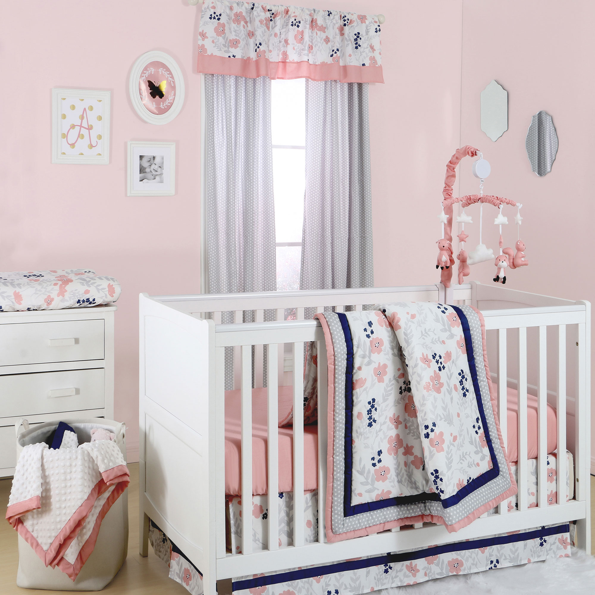 The Peanut Shell 4 Piece Baby Girl Crib Bedding Set - Coral,Navy Blue, and Grey Floral with Polka Dot Trim - 100% Cotton Quilt, Dust Ruffle, Fitted Sheet, and Mobile