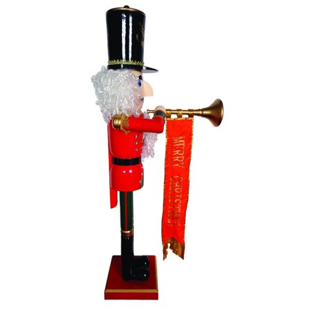 "58"" Giant Life-Size Merry Christmas Nutcracker with Trumpet and Ribbon Banner"