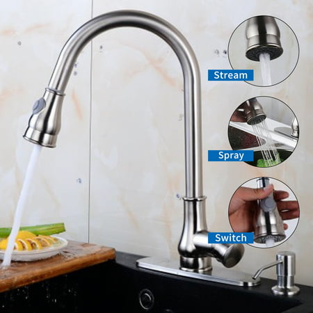 Ainfox Contemporary Pull Out Spray Kitchen Sink Faucet  , With Brushed Nickel , Soap Dispenser with Single Handle
