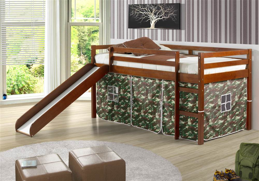 Twin Tent Loft Bed With Slide And Slats Walmart Com