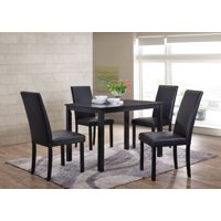 """August 5-Piece Dining Set, 43"""" Rectangular, Transitional, (Cappuccino Table & 4 Black Parsons Chairs)"""