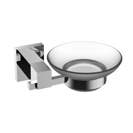 Eviva Panera  Frosted Glass Soap Dish  Holds As A Wall Mount  Brushed Nickel   Bathroom Soap Holders