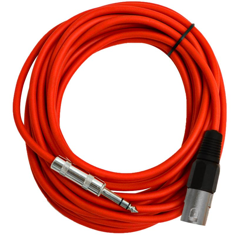 """Seismic Audio  - 25 Foot Red XLR Male to 1/4"""" TRS Patch Cable Snake Cords - NEW Red - SATRXL-M25Red"""