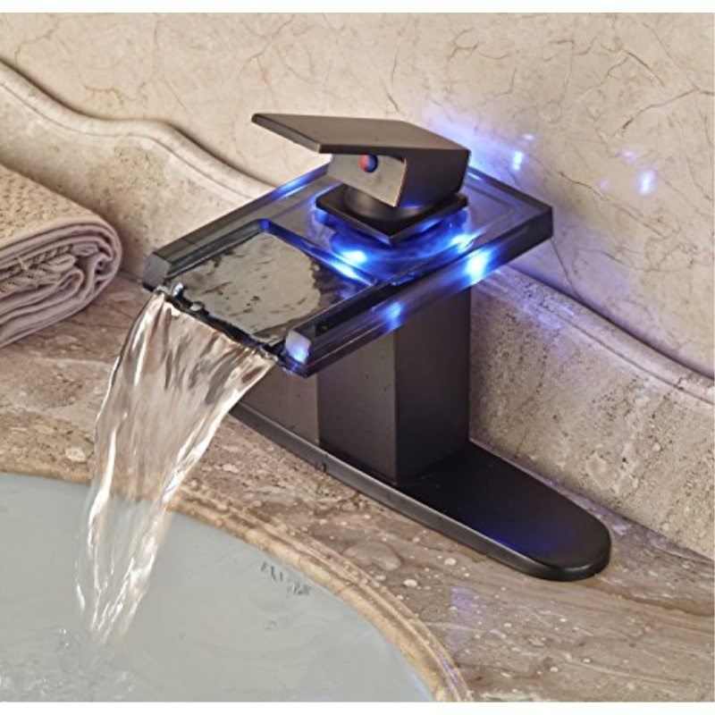 Rozin Led Light Glass Spout Waterfall Bathroom Sink Faucet With 8