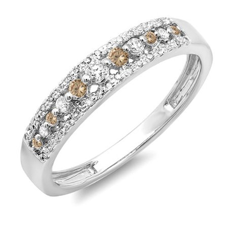 Fancy Champagne Diamond Band (Dazzlingrock Collection 0.25 Carat (ctw) 14K Round Champagne & White Diamond Wedding Band Ring 1/4 CT, White Gold, Size)