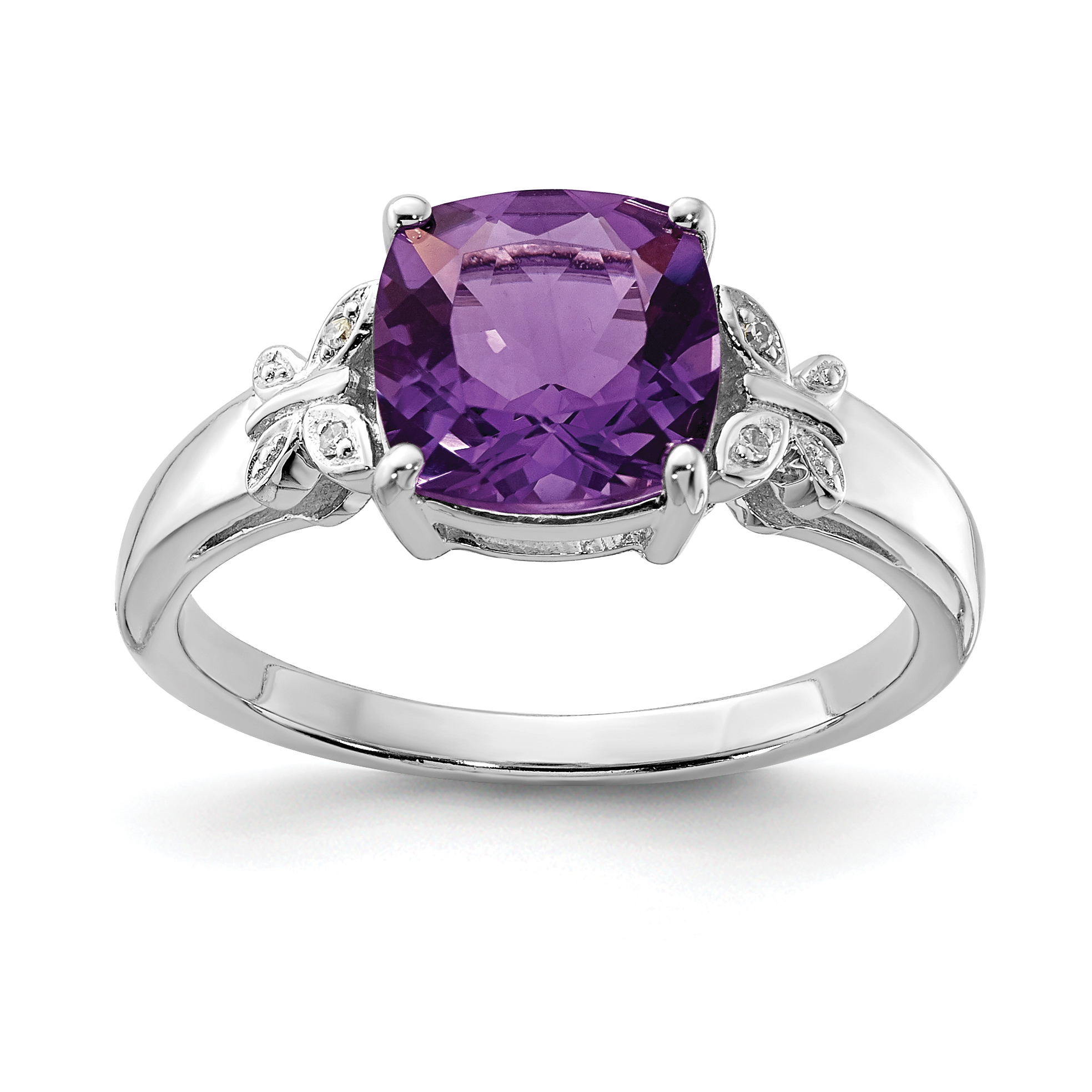 925 Sterling Silver Rhodium Plated Diamond and Amethyst Square Ring - image 2 de 2