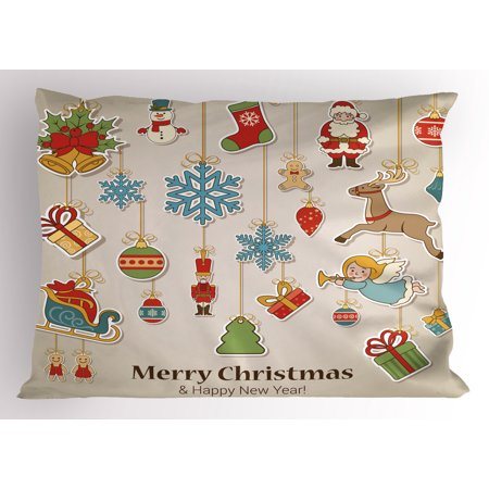 Christmas Pillow Sham Xmas Winter Holiday Themed Icons Celebratory Objects Retro Graphic Collection, Decorative Standard Size Printed Pillowcase, 26 X 20 Inches, Multicolor, by Ambesonne](Winter Holiday Themes)