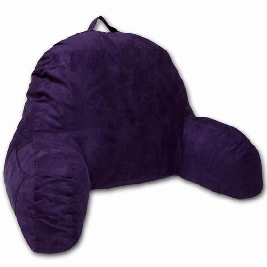Microsuede Bedrest Pillow Purple - Best Bed Rest Pillows with Arms for Reading in Bed