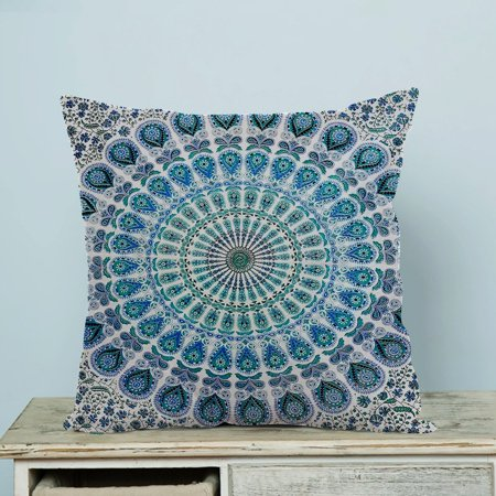 GCKG Indian Mandala Blue Peacock Pillow Case Pillow Cover Pillow Protector Two Sides 20 x 20 Inches