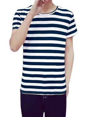 7c7d3453 Product Image Unique Bargains Men's Allover Striped Print Color Block  Crewneck Short Sleeve T Shirt