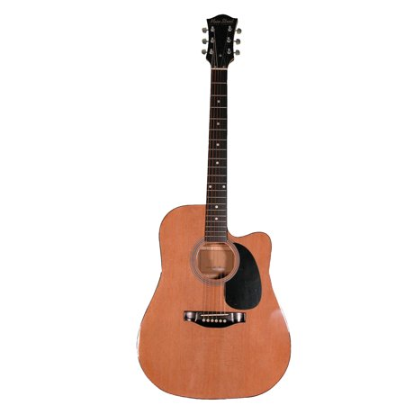 String Natural Finish Dreadnought Guitar (Main Street MA241CN 41-Inch Cutaway Acoustic Dreadnought Guitar With Natural Finish )