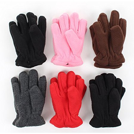 Toddler Soft And Warm Fleece Lined Gloves 6-Pack Assorted Colors, one size