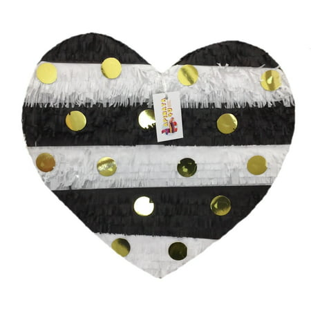 APINATA4U Polka Dot Wedding Heart Pinata, Black, White, & Gold, 20in x 20in