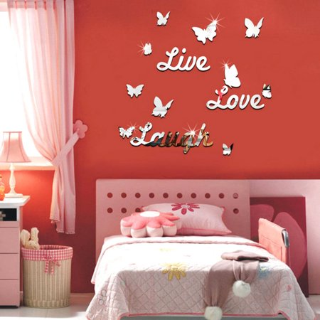 3D Silver Mirror Wall Stickers Live Laugh Love Quote & Butterflies Decorative Kids Room Home Art Decor Decal (Kids Love Stickers)