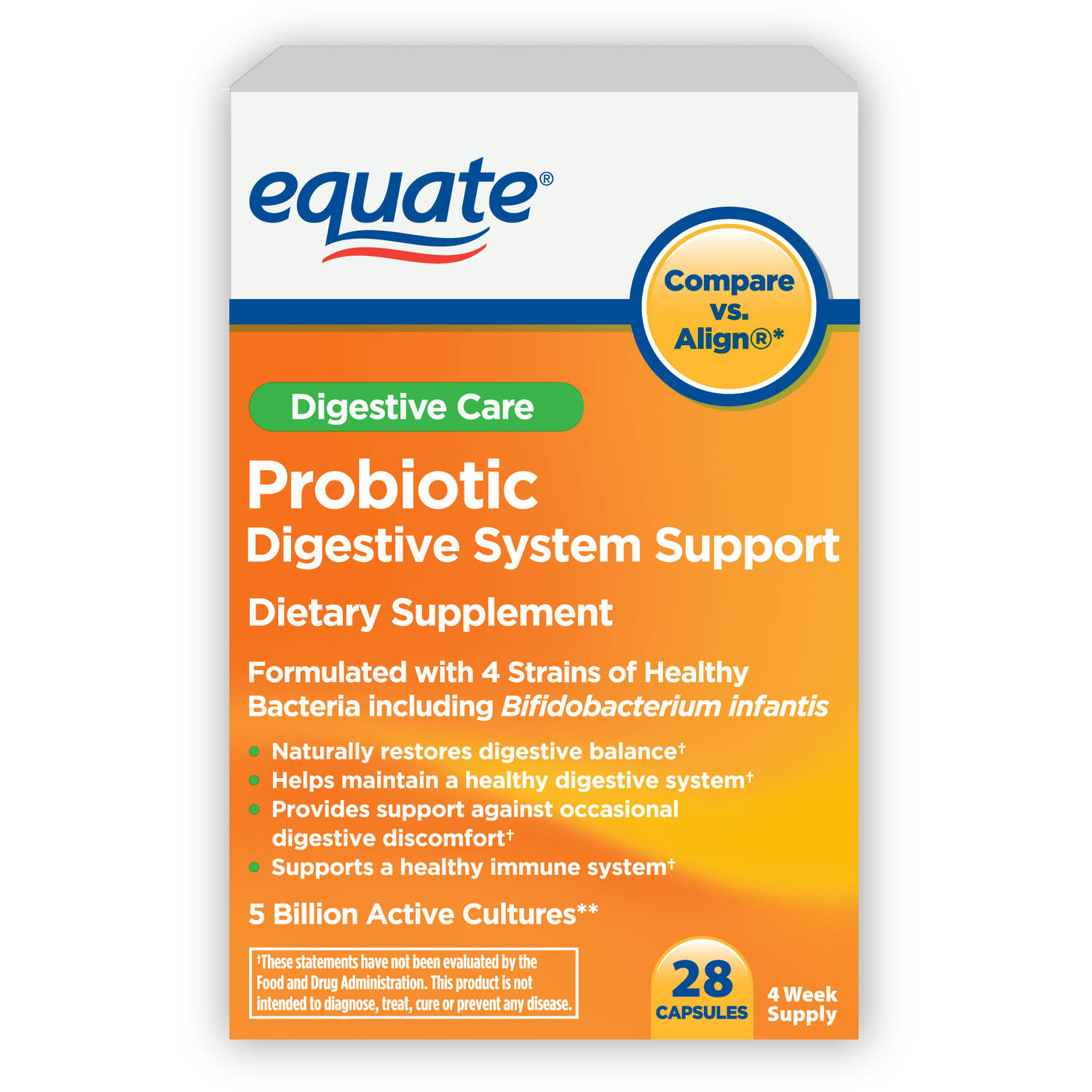 Equate Probiotic Digestive System Support Capsules, 28 count
