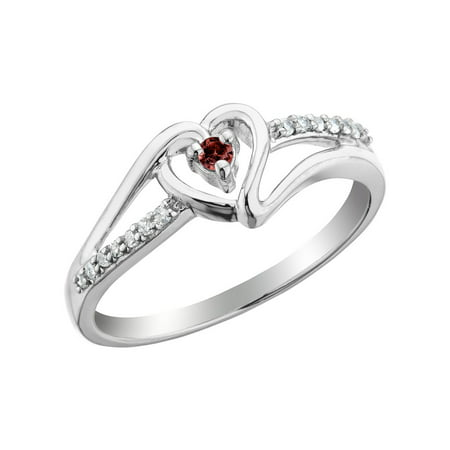 garnet heart promise ring with diamonds in sterling silver. Black Bedroom Furniture Sets. Home Design Ideas