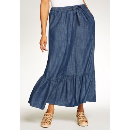 Woman Within Plus Size Petite Drawstring Chambray Skirt