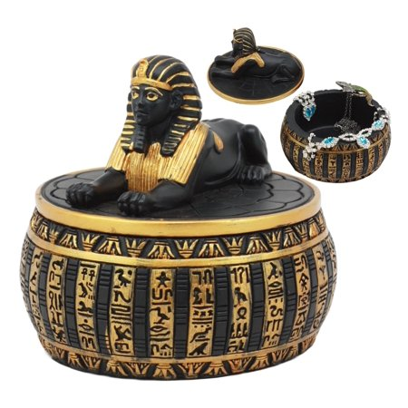 Ebros Egyptian Guardian Sphinx Decorative Round Box Classical Egypt Monument Androsphinx With Hieroglyphic Deities Jewelry Trinket Box Sculpture