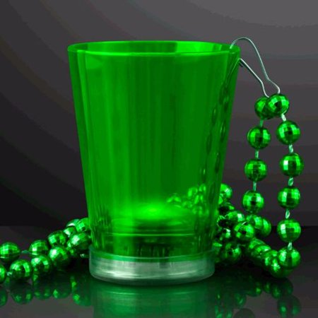 Light Up Green Shot Glass on Green Beaded - Light Up Shot Glass Necklace